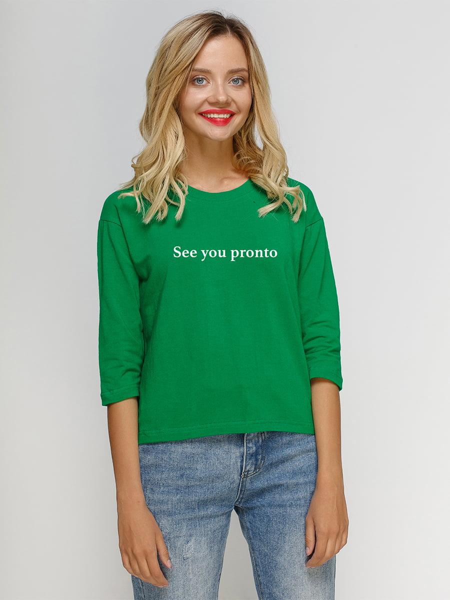 Лонгслив зеленый с принтом | 5274431