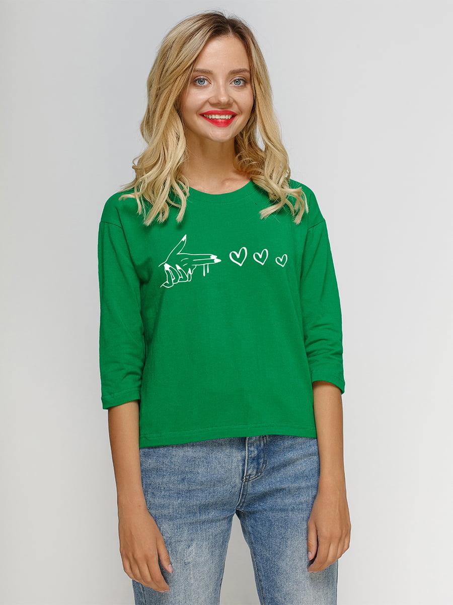 Лонгслив зеленый с принтом | 5274444