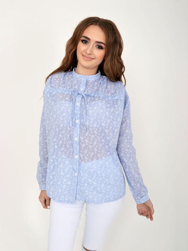 Блуза светло-джинсового цвета в принт   5275345