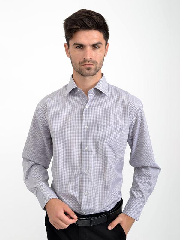 Рубашка серо-белая в клетку | 5276131