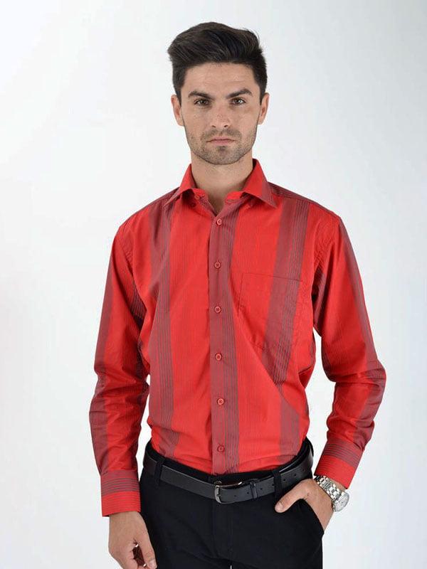 Рубашка красная в полоску | 5276267