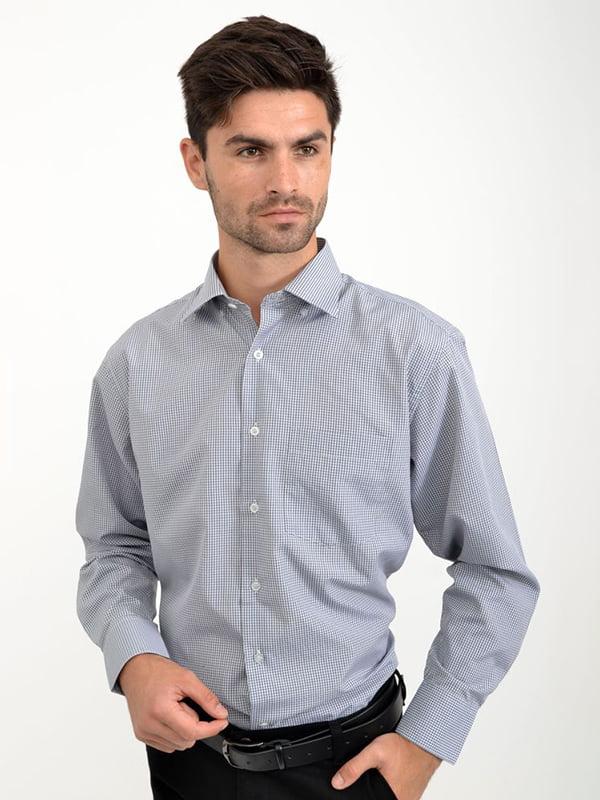Рубашка серо-белая в клетку   5276279