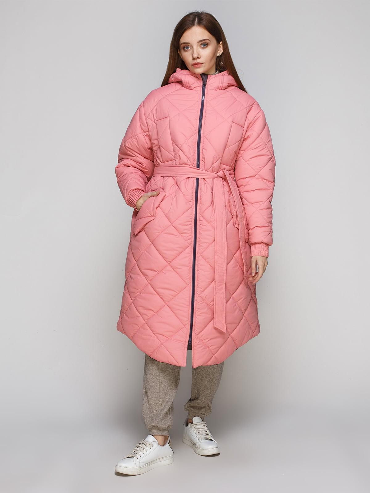 Пуховик двостороній рожево-сірий | 5267885