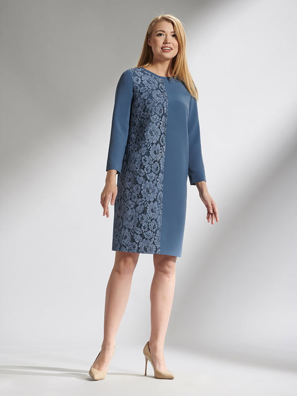 Платье синее с цветочным узором | 5282469