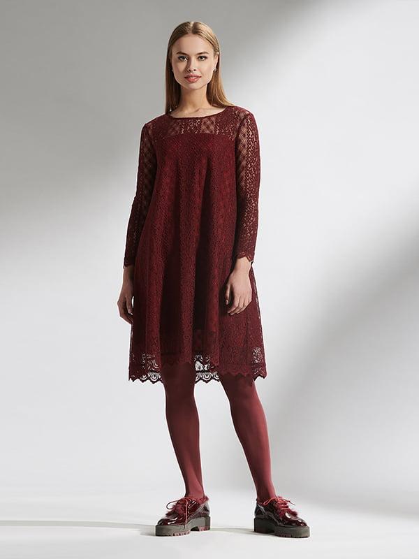 Платье бордовое с узором | 5282498