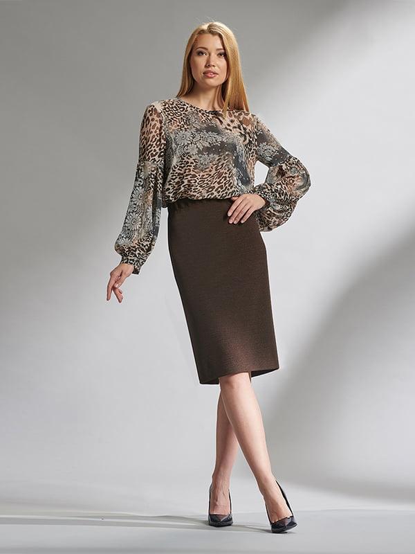 Блуза коричневая с анималистическим принтом | 5282513