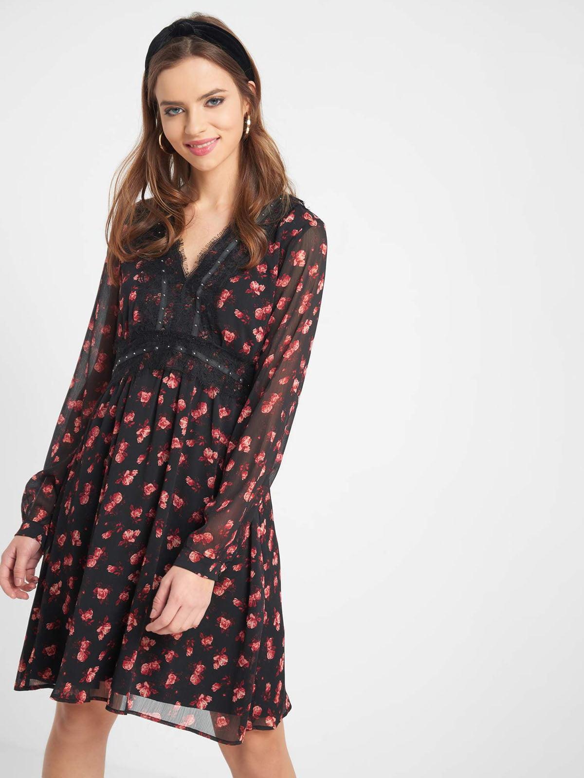 Сукня чорна в квітковий принт | 5282857