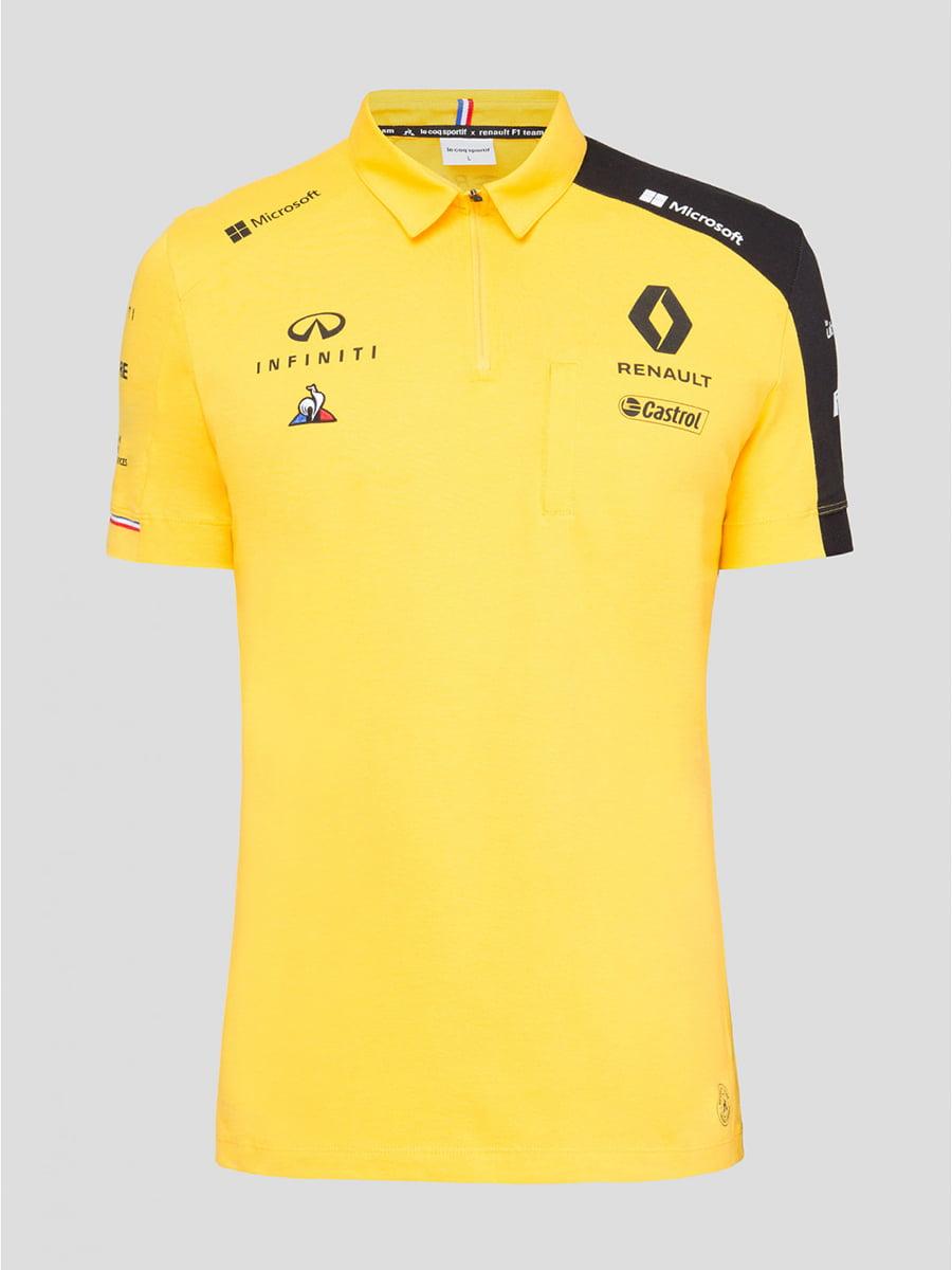 Футболка-поло желтая с принтом | 5260825