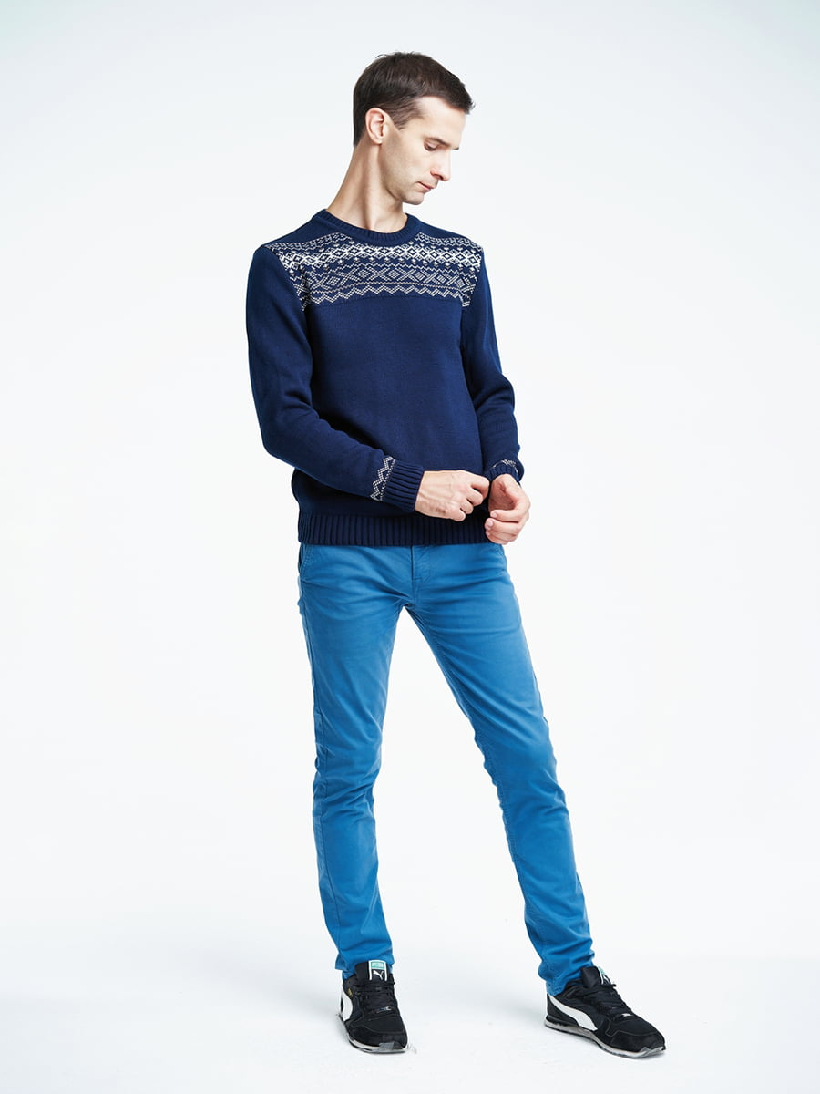 Джемпер темно-синий с орнаментом | 5292808