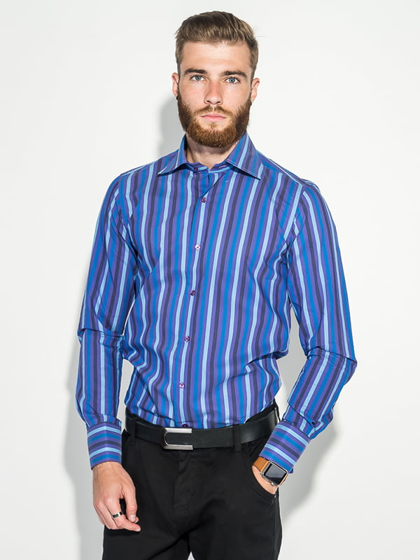 Рубашка сиренево-голубая | 5287804