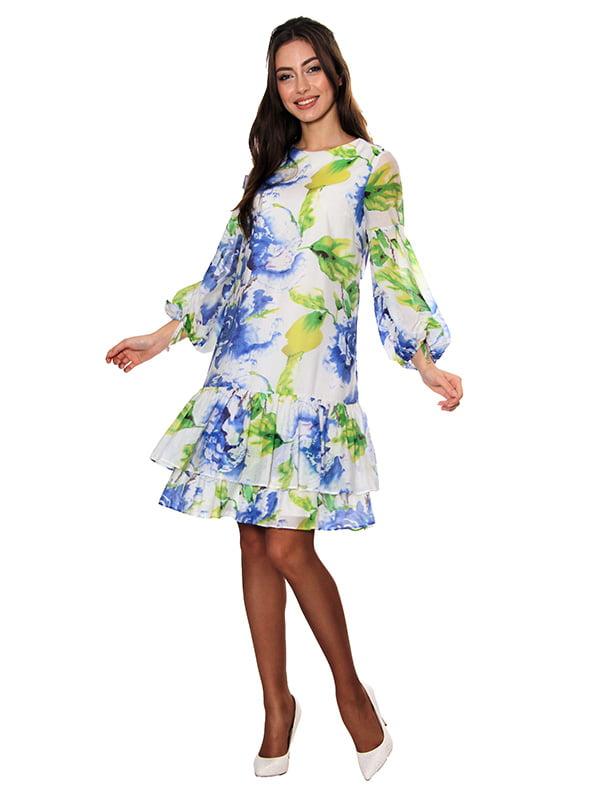 Платье белое с принтом | 5303449