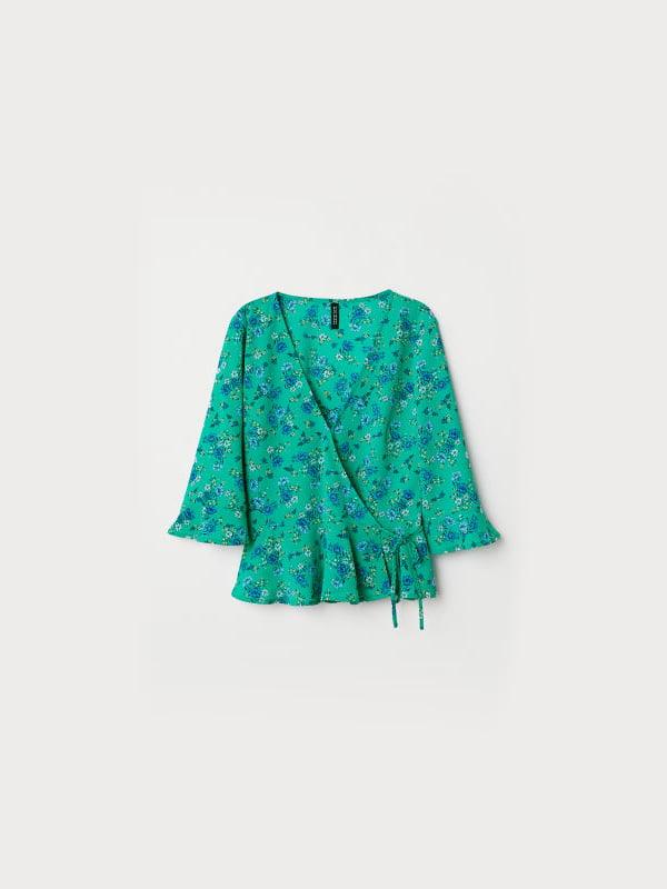 Блуза зелена з квітковим принтом | 5304717