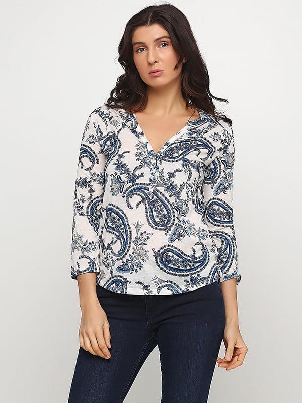 Блуза біло-синя з принтом | 5304831