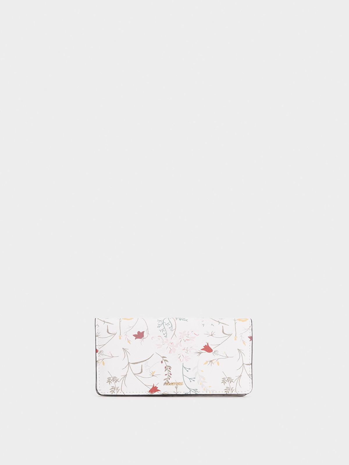 Гаманець білий з квітковим принтом | 5320318