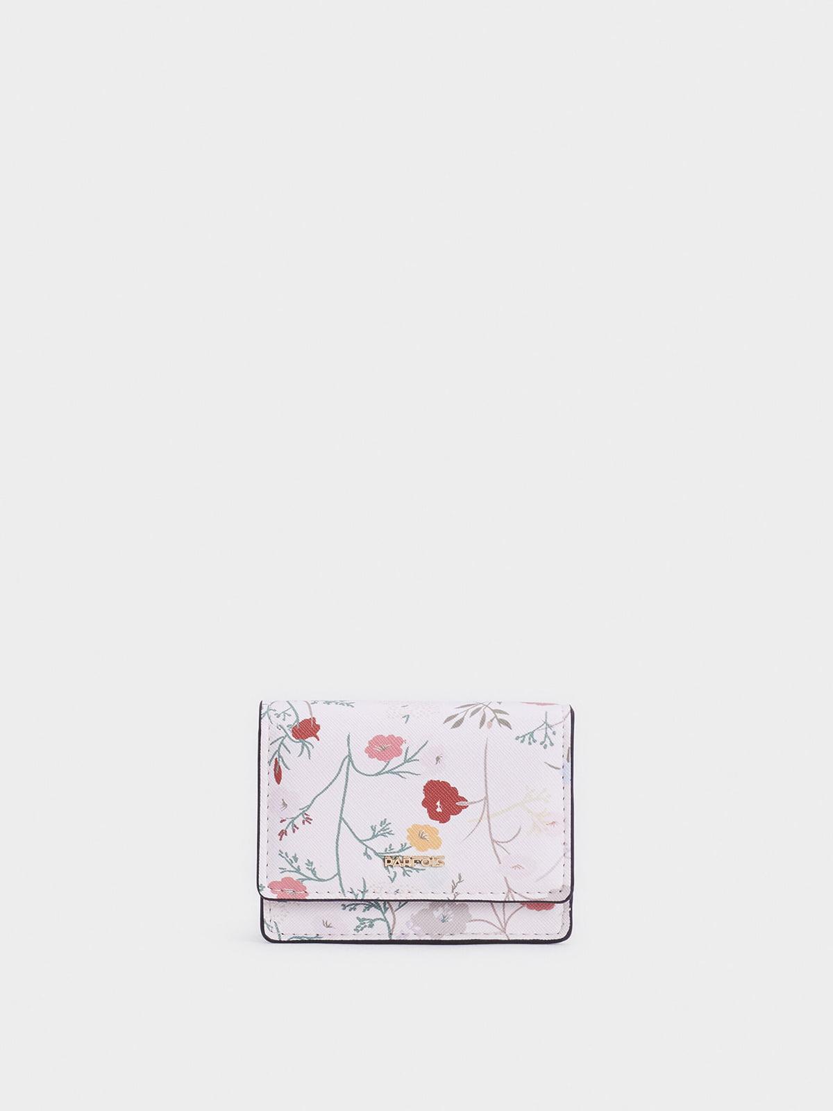 Гаманець кольору екрю з квітковим принтом | 5320325