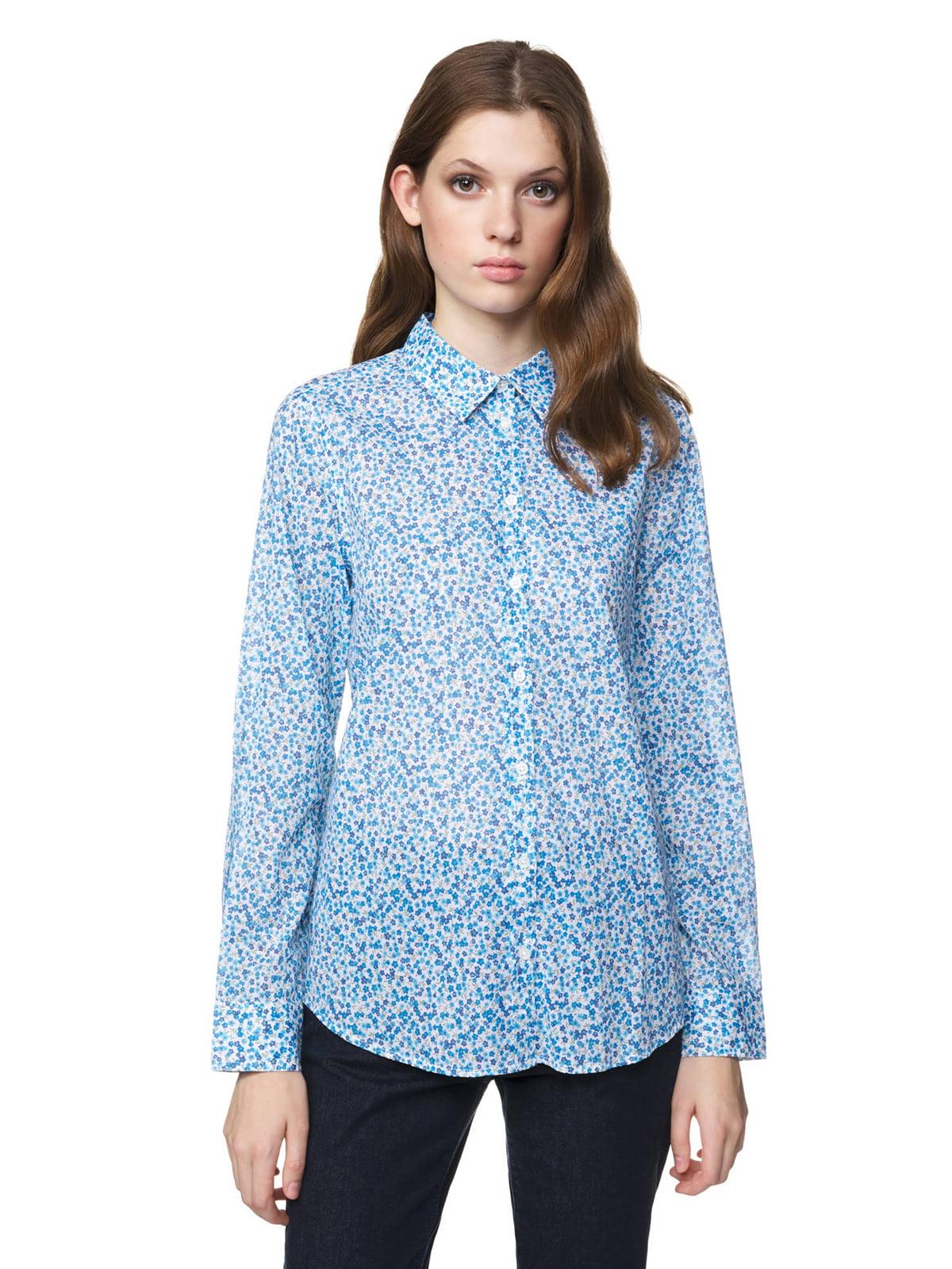Рубашка голубая в принт | 5321124