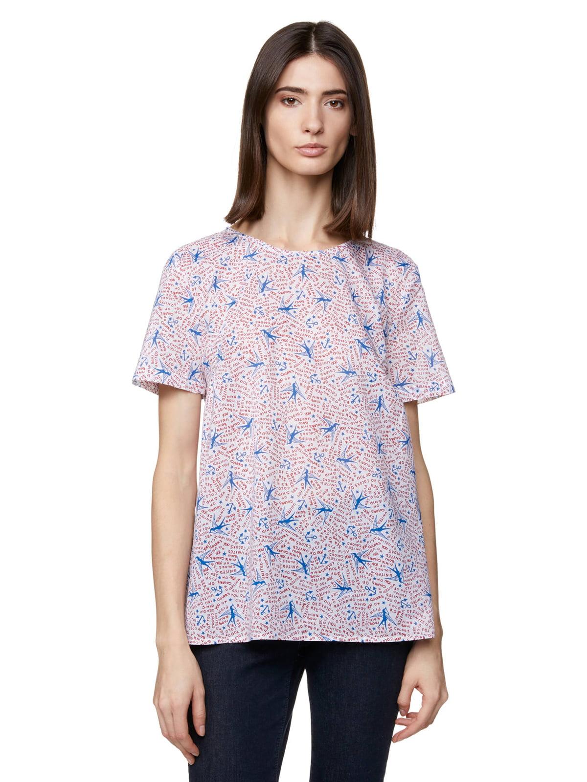 Блуза молочного цвета в принт   5321133