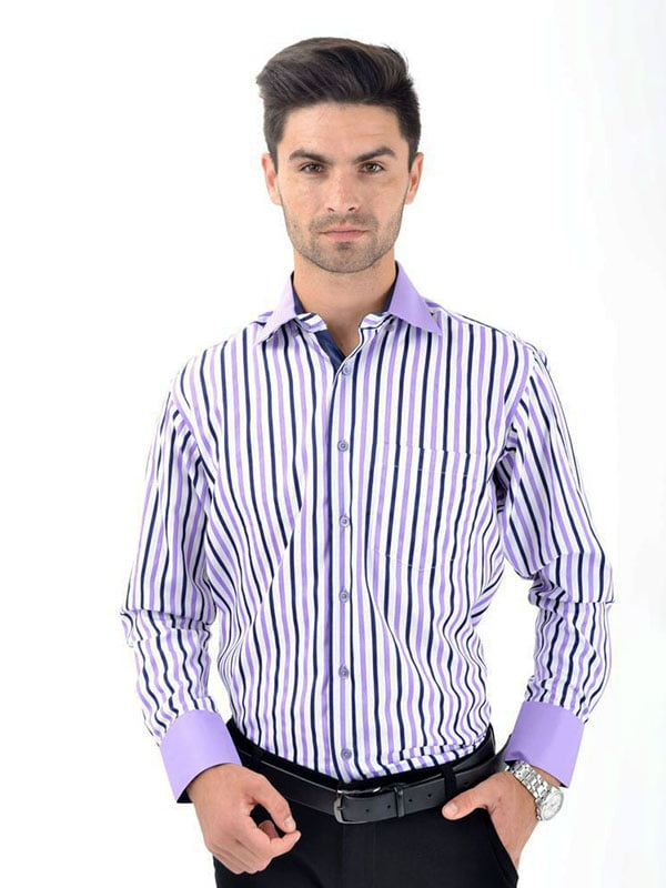 Рубашка бело-сиреневая | 5322423