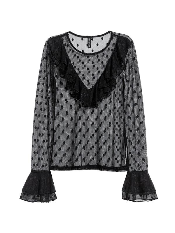 Блуза чорна в горошок | 5325273