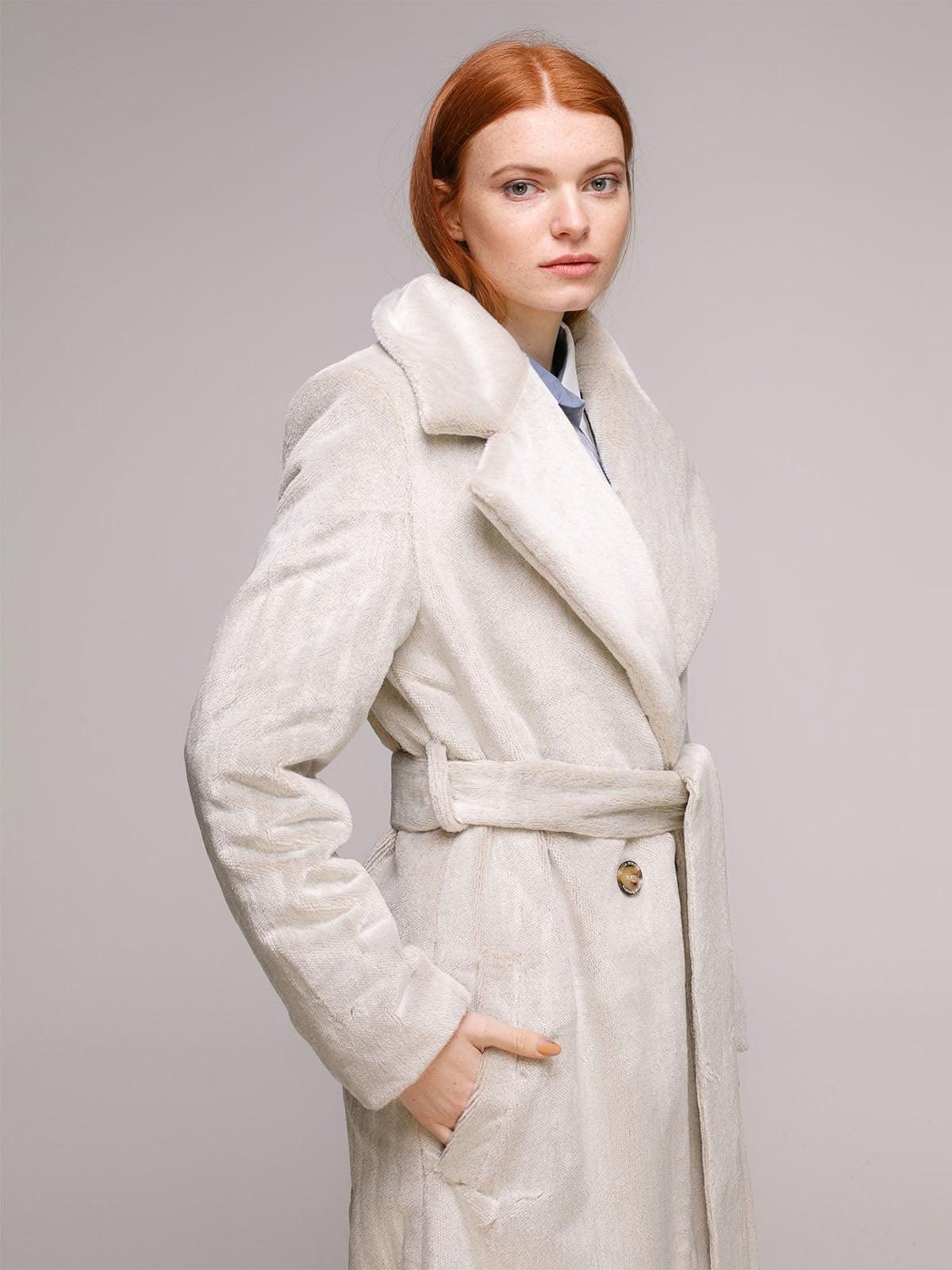 Пальто сіро-молочного кольору   5287989