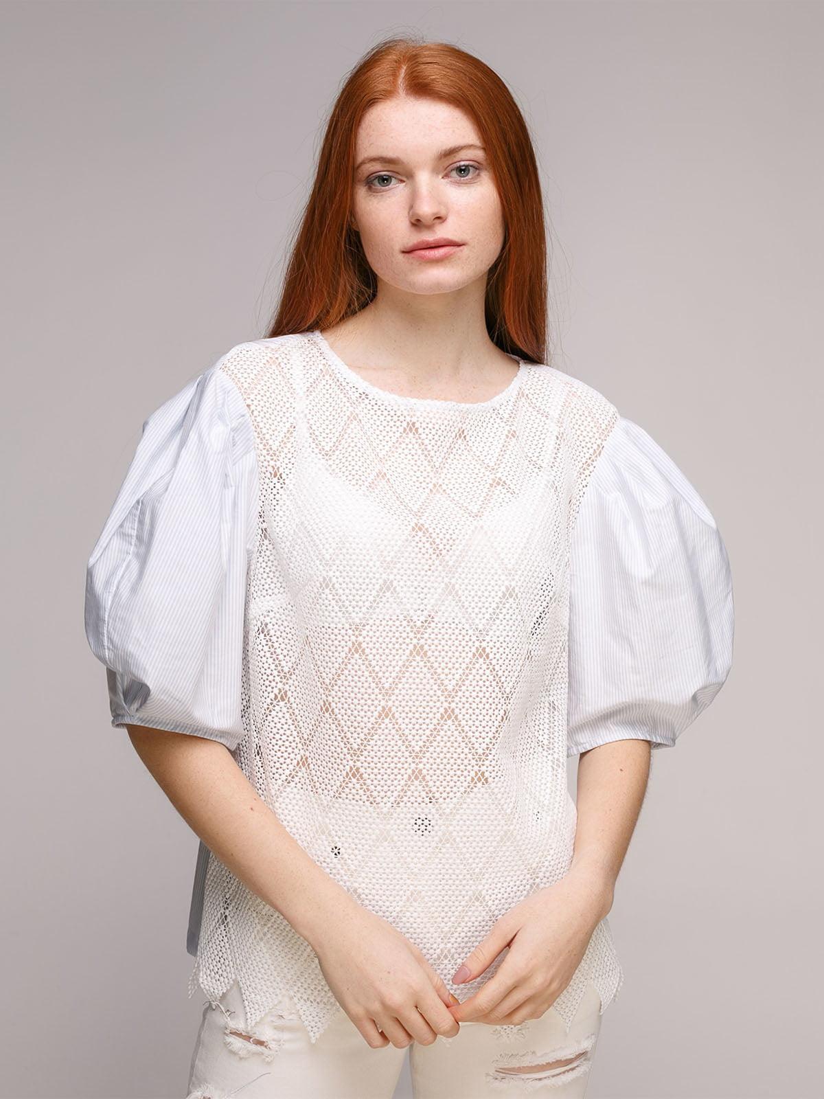 Блуза біло-блакитна   5318955