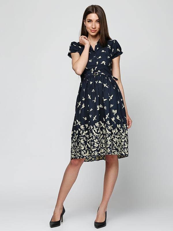 Платье темно-синее в принт   5325941
