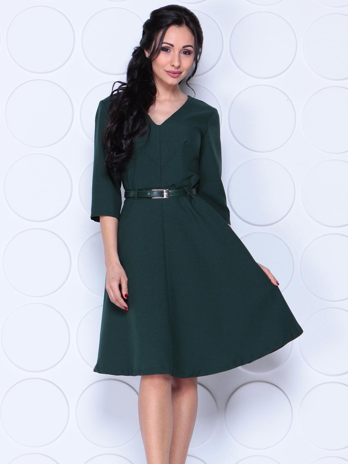 Сукня темно-смарагдового кольору з поясом   5338176