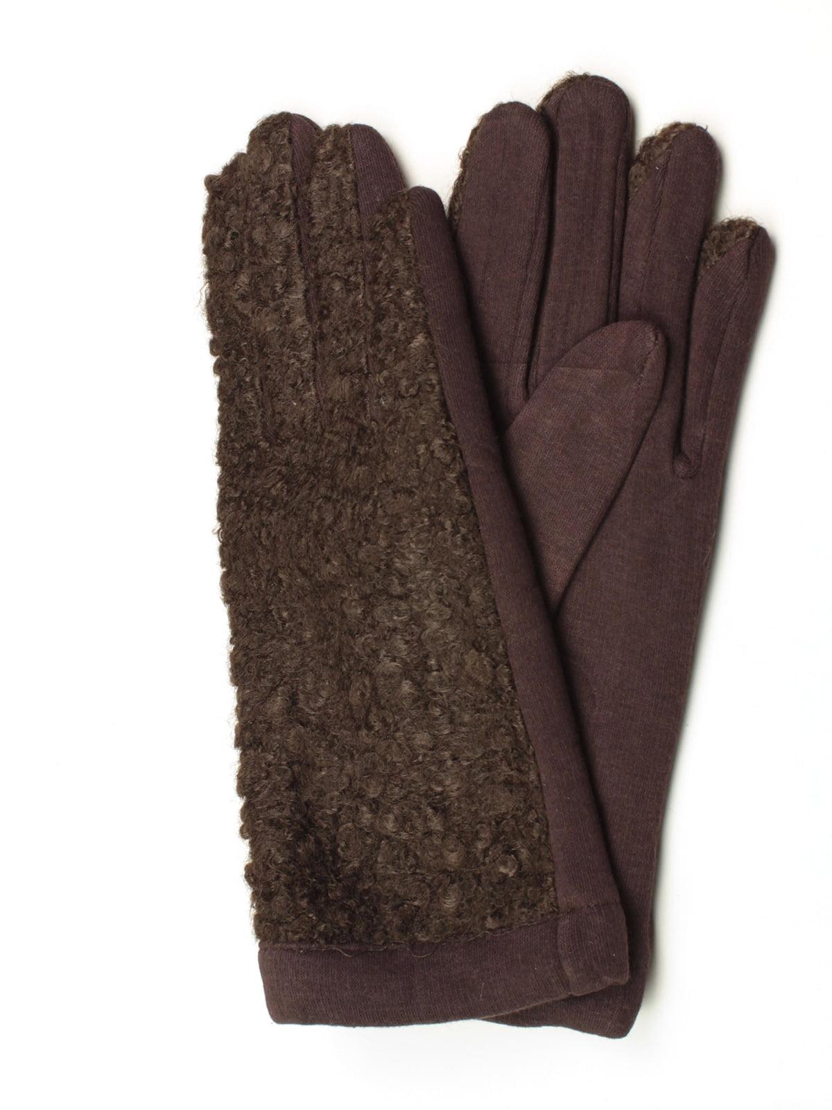 Рукавички темно-коричневі утеплені | 5343416