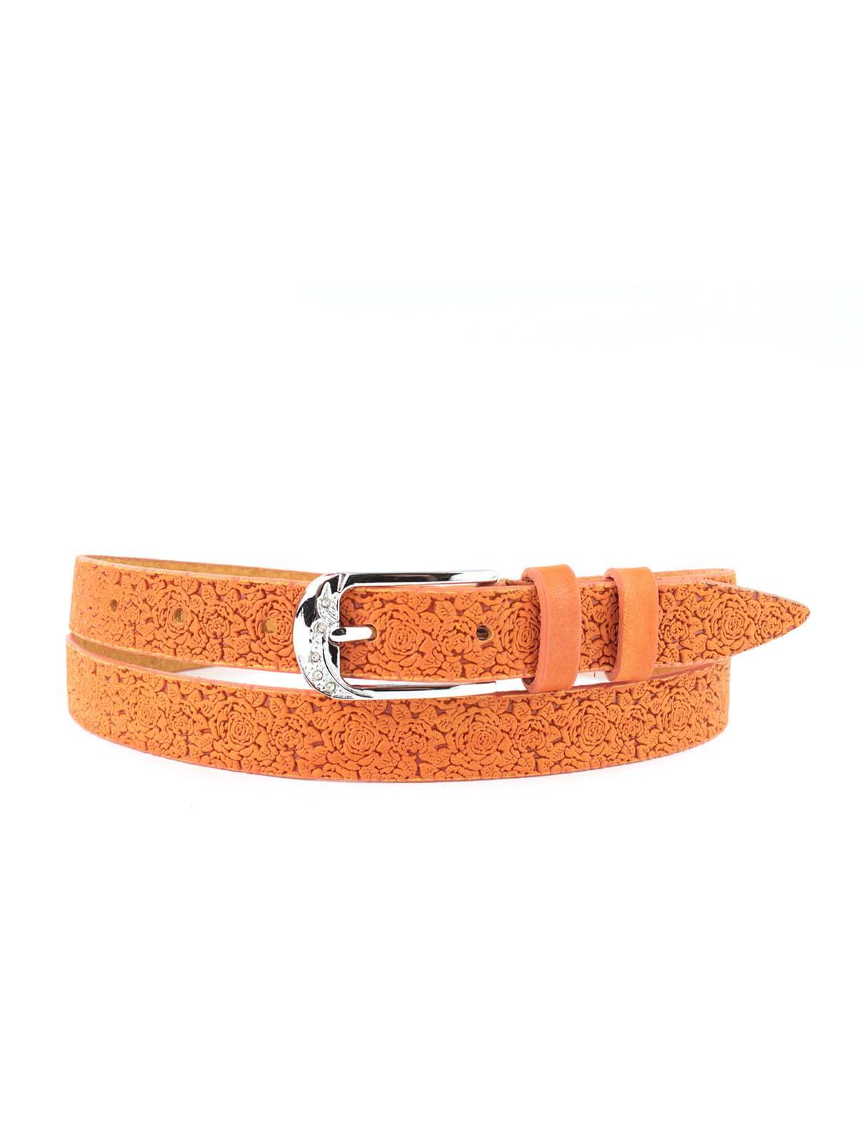 Ремень оранжевый с цветочным рисунком   5344086