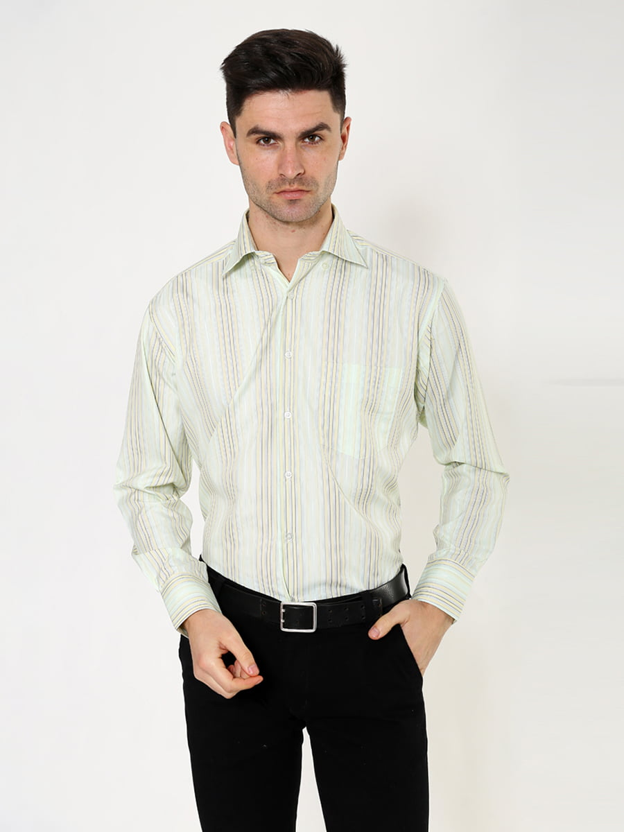 Рубашка оливкового цвета в полоску   5276382