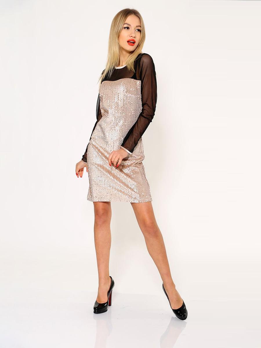 Платье бежево-черное | 5337765