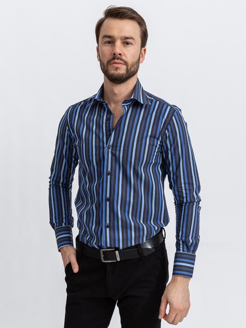 Рубашка сине-черная | 5356456