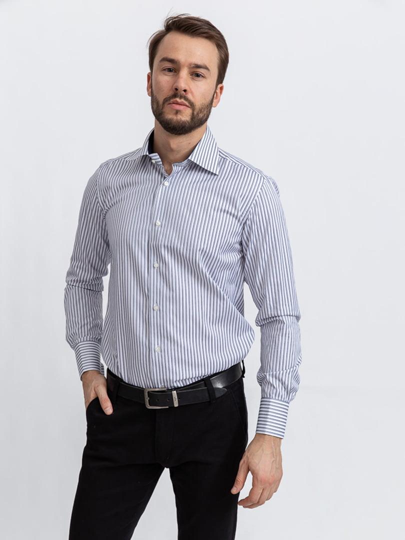 Рубашка бело-серая | 5356466