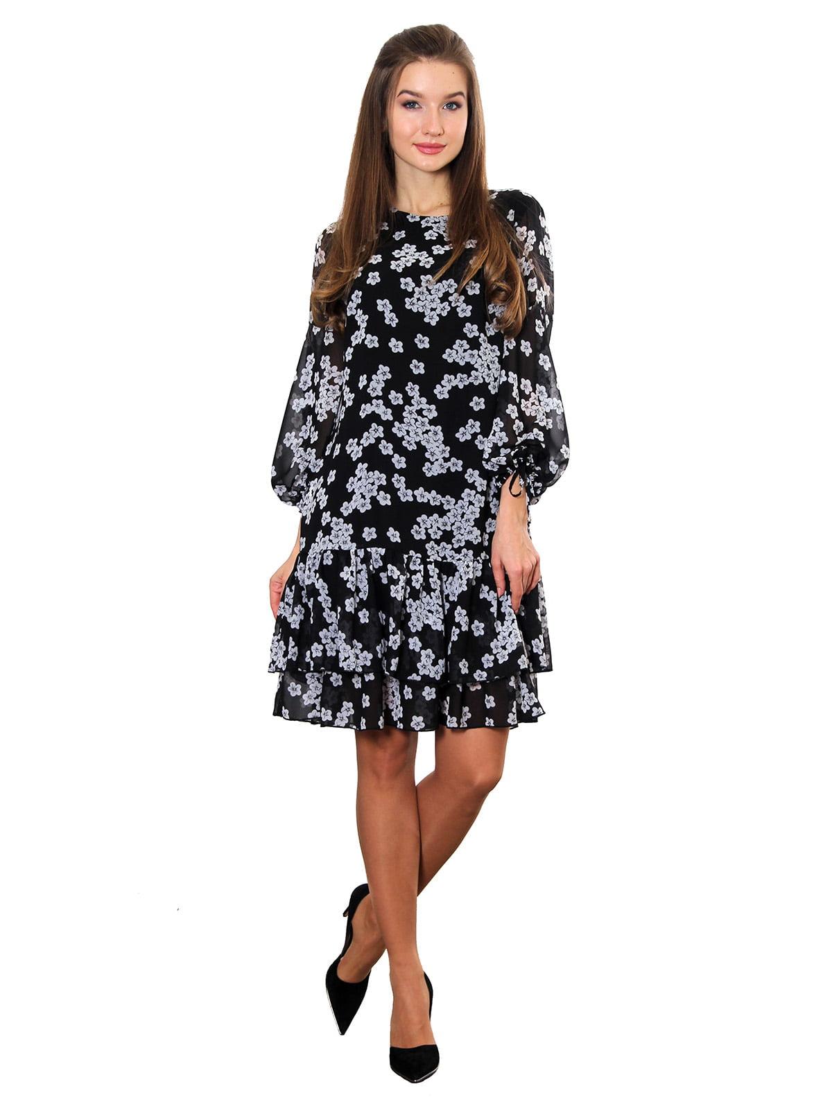 Платье черно-белое с принтом | 5357950