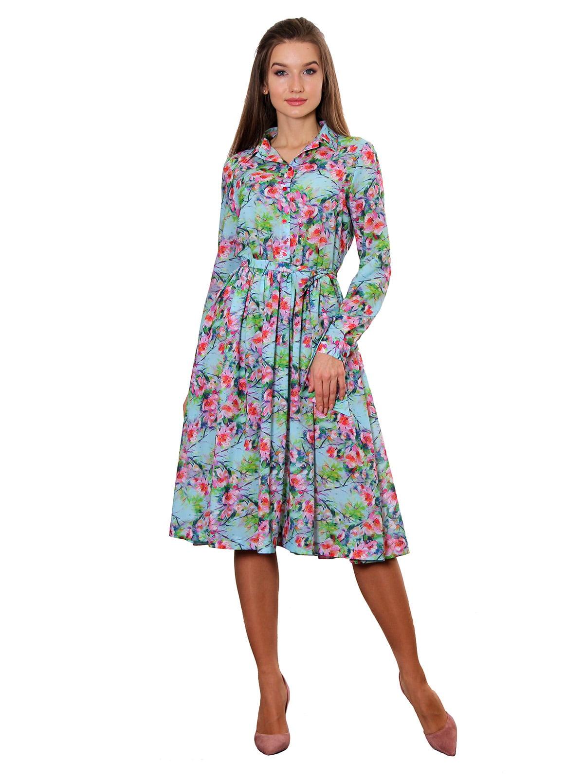 Платье бирюзовое с принтом | 5357954