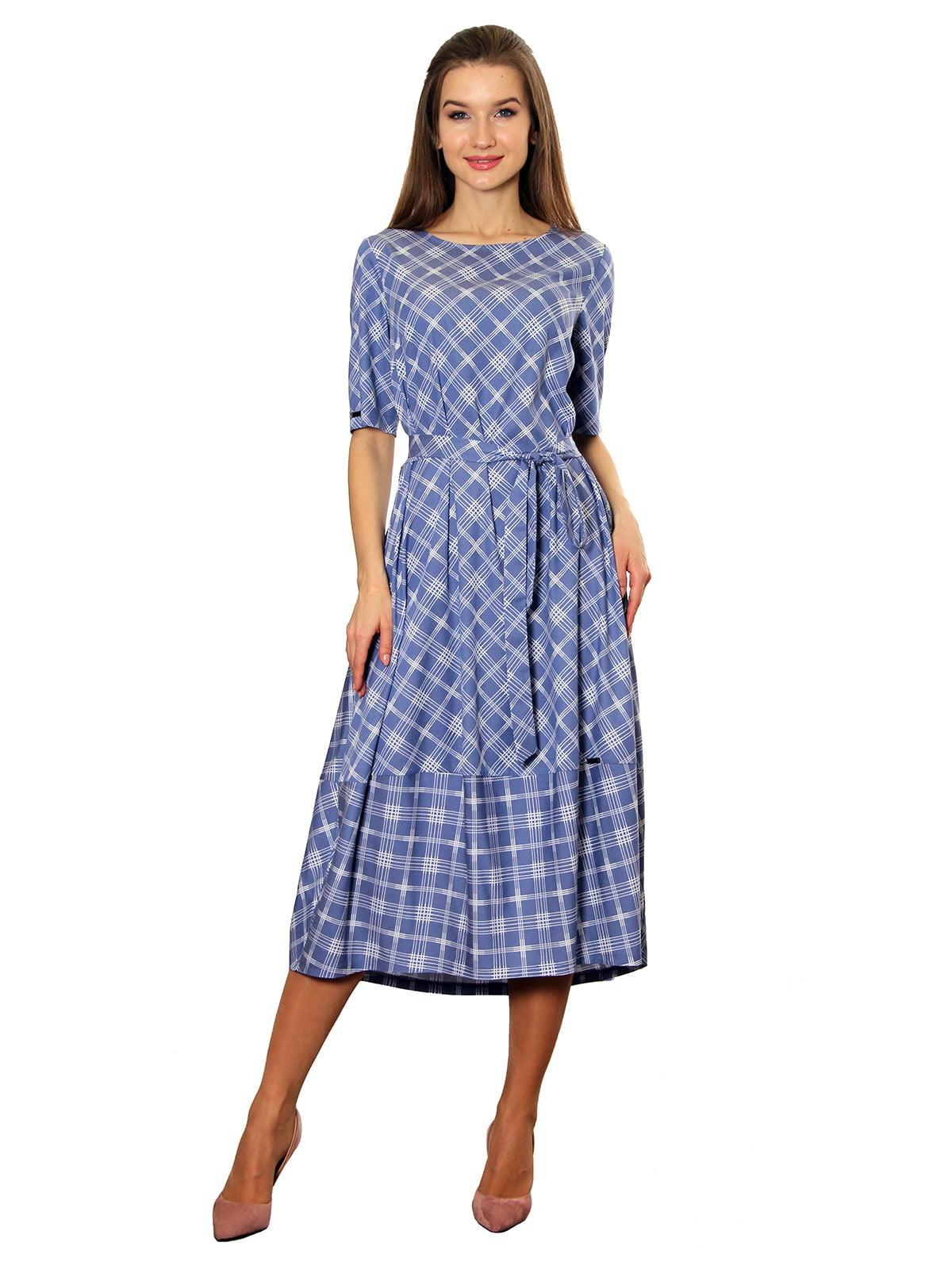 Платье синее с принтом | 5357958