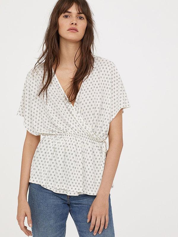 Блуза біла з принтом | 5359459