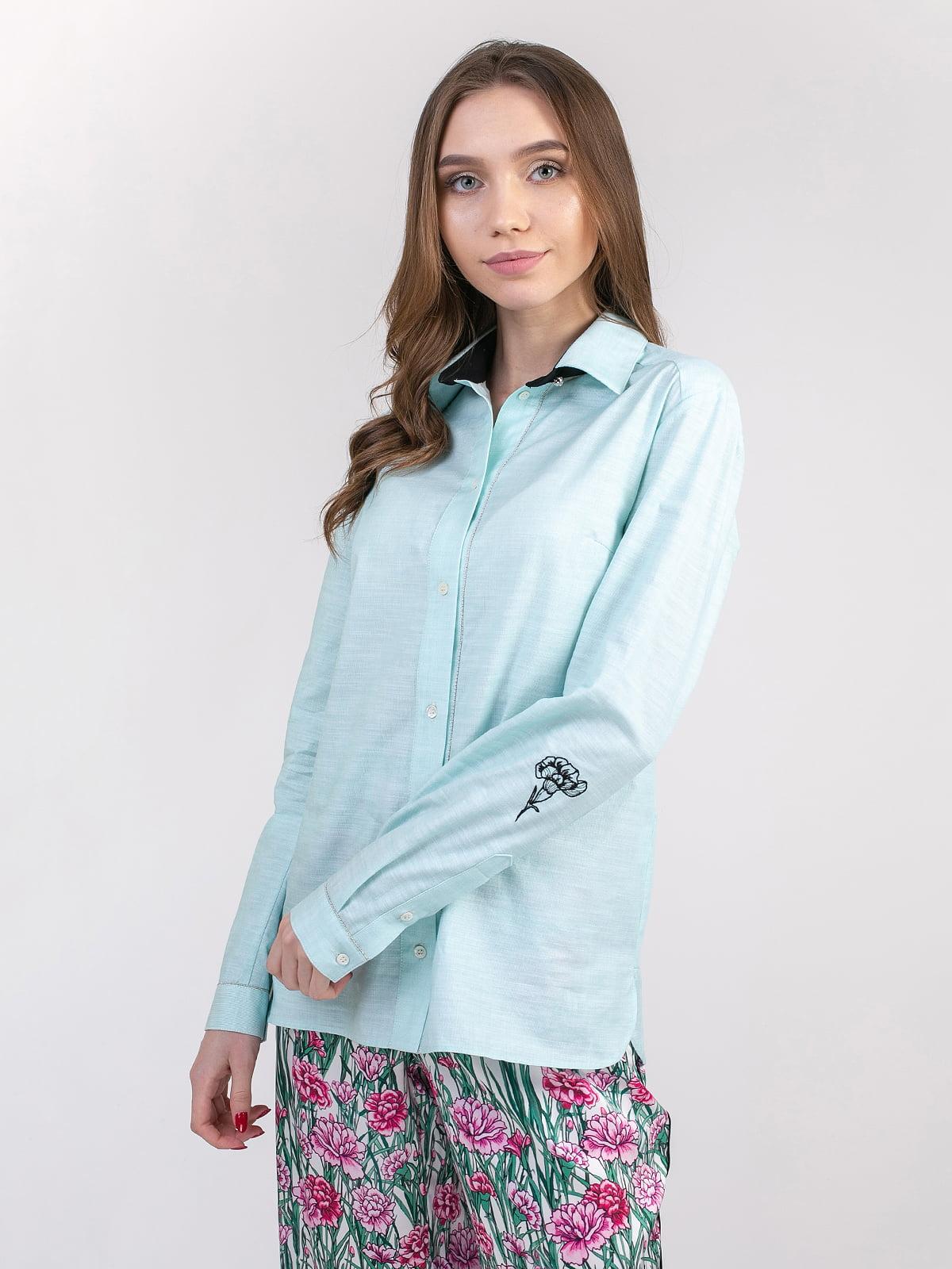 Блуза бірюзово-біла | 5347341