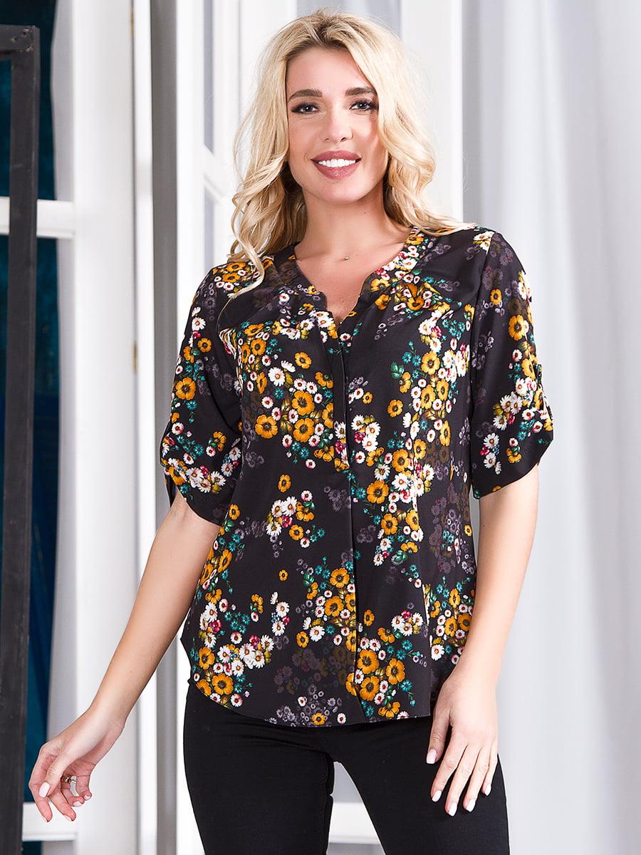 Блуза чорна з принтом   5360365