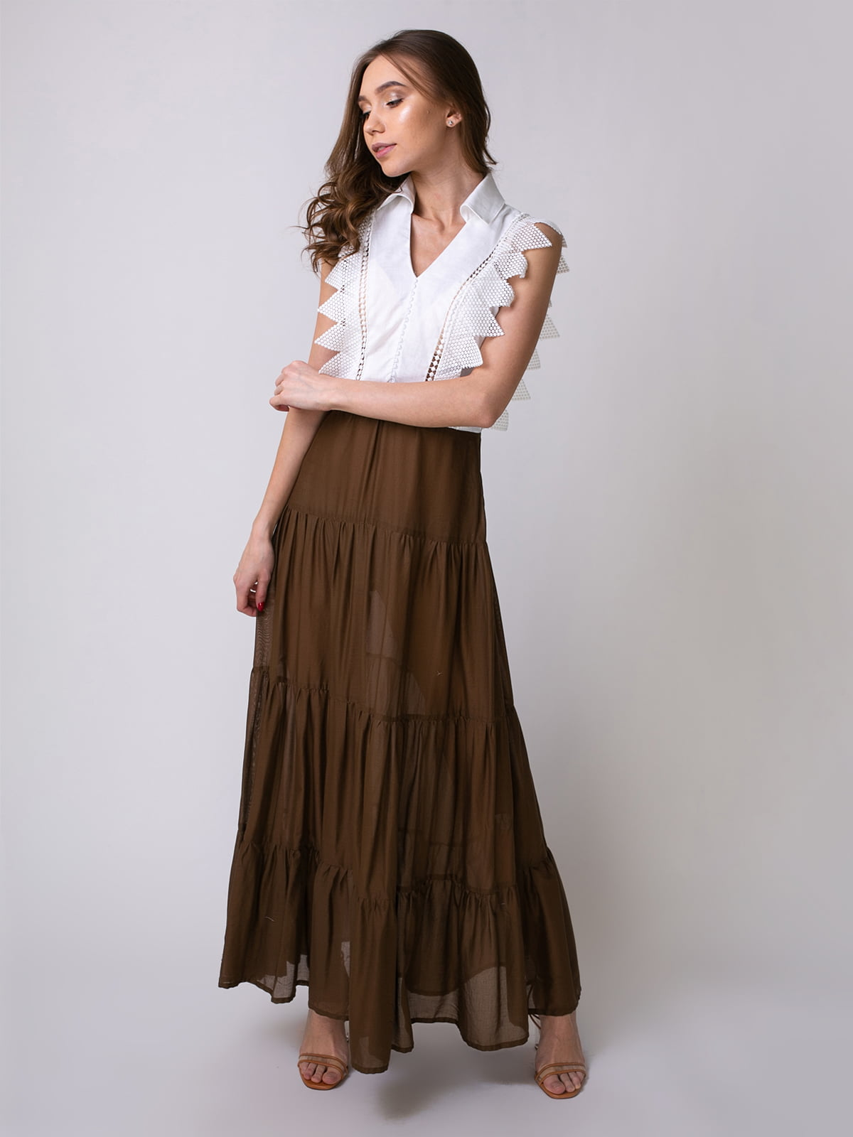 Сукня біло-коричнева | 5318990