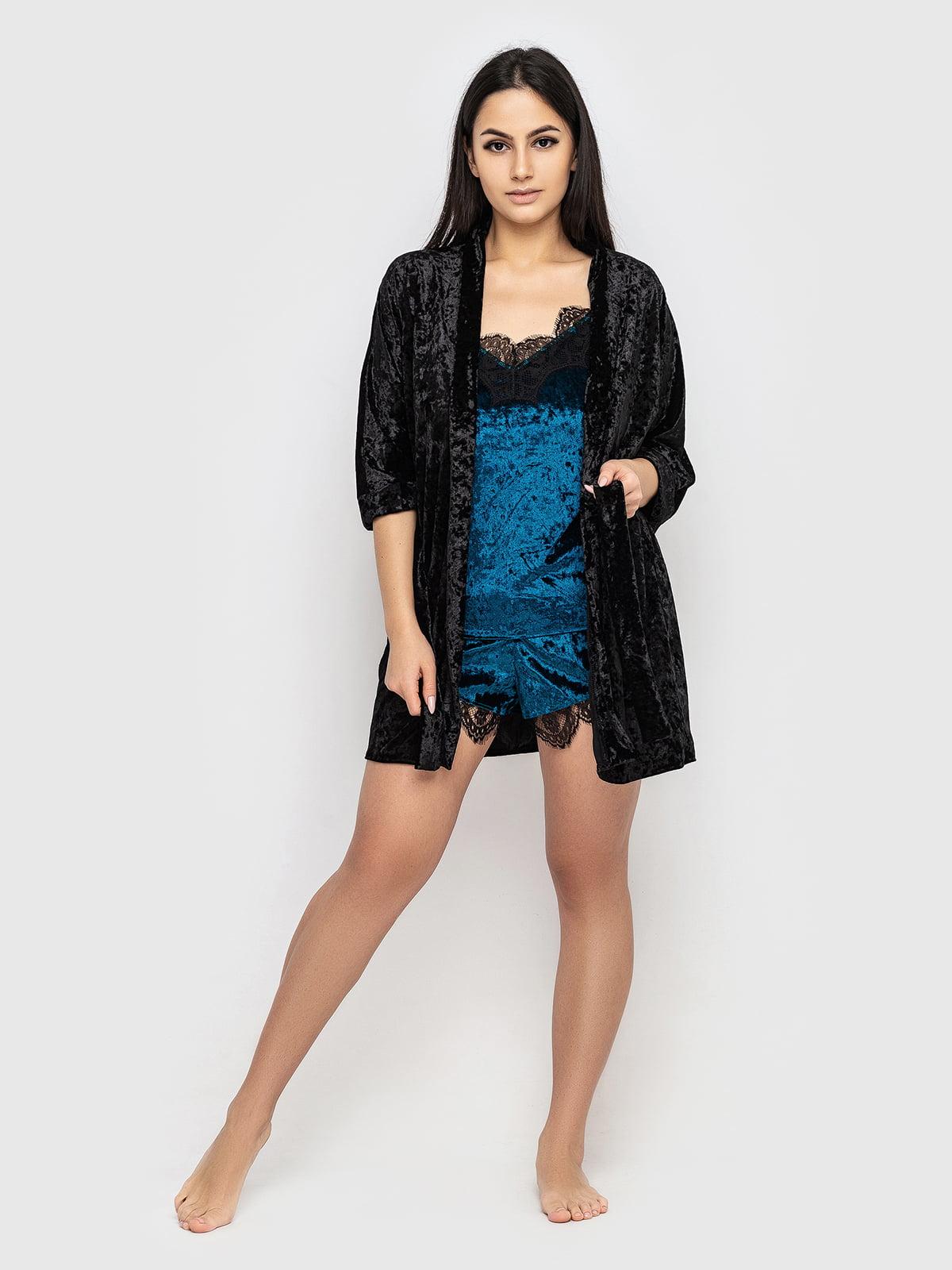 Комплект піжамний: майка, шорти і халат | 5363869