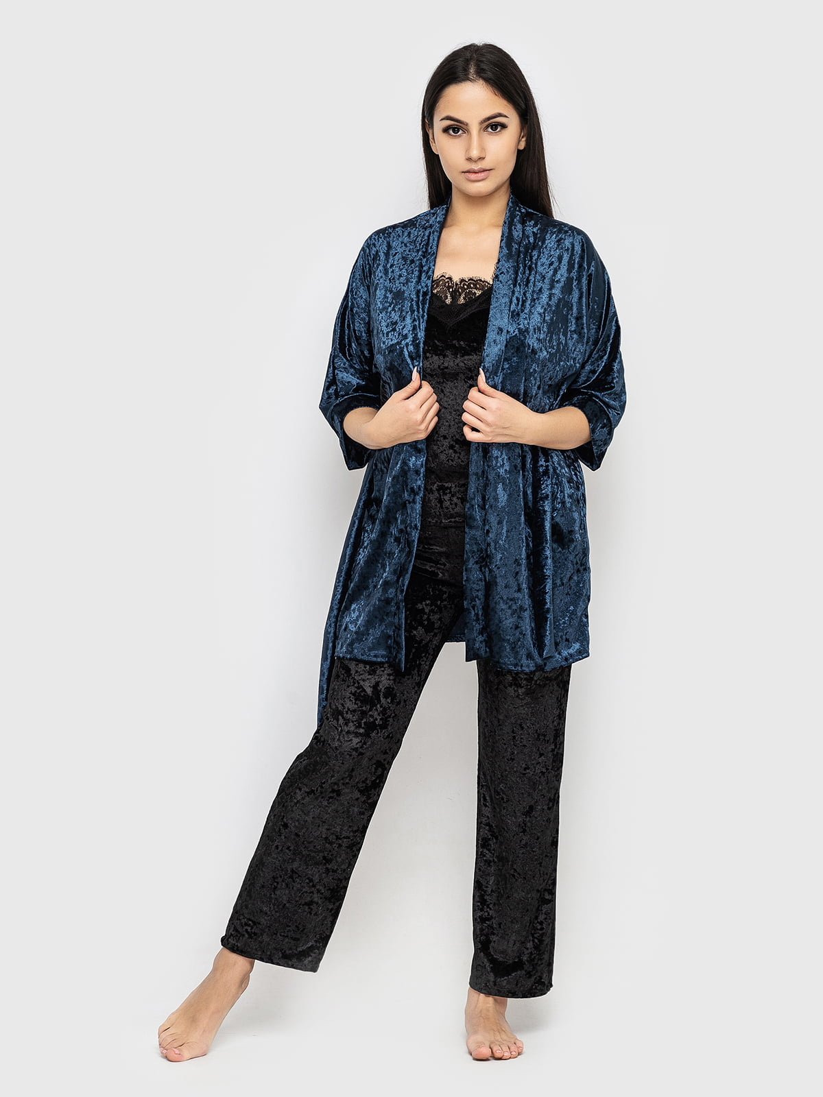 Комплект піжамний: майка, штани і халат | 5363883