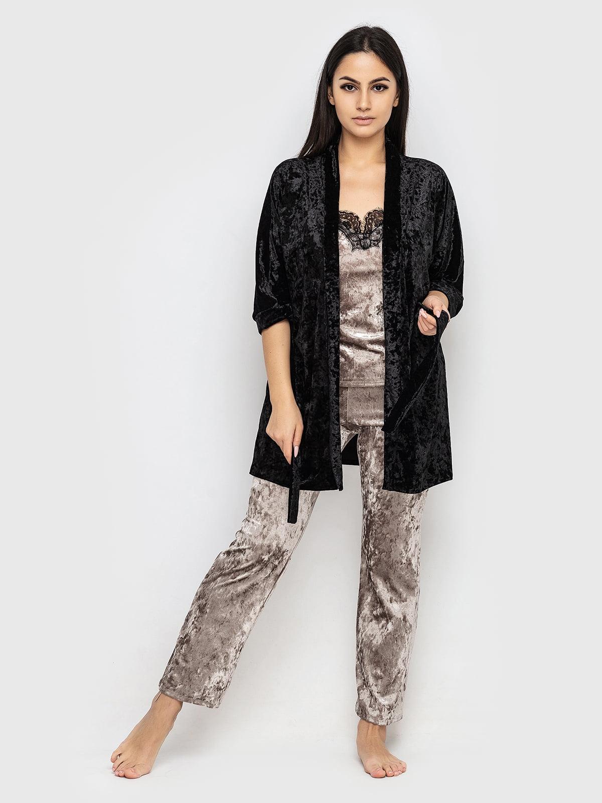 Комплект піжамний: майка, штани і халат | 5363892