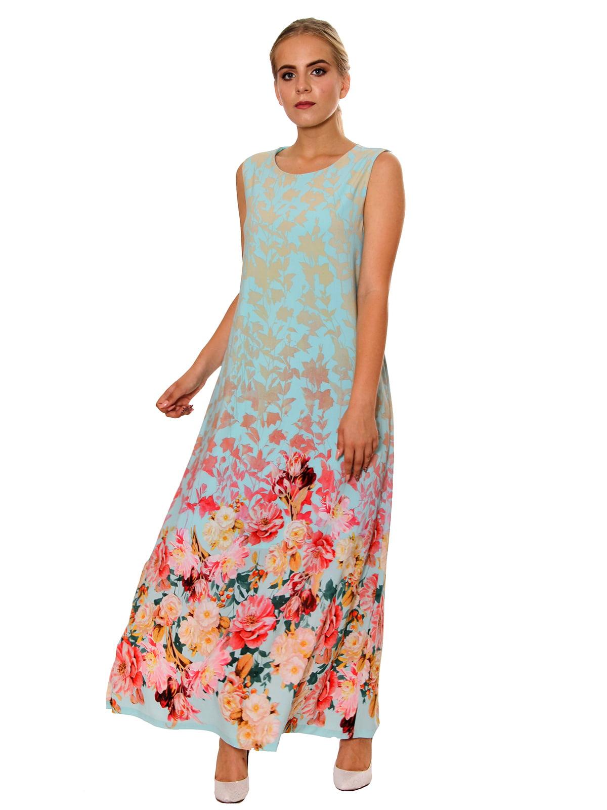 Платье бирюзовое в принт   5366432