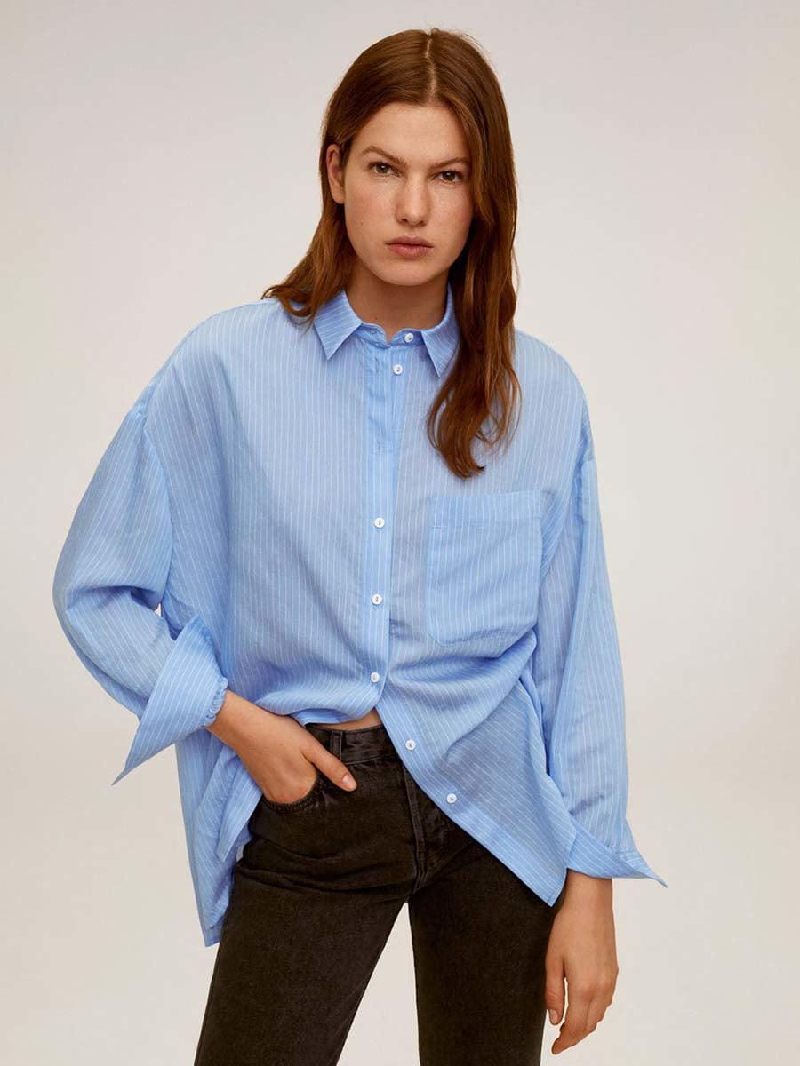 Рубашка голубая в полоску   5369793