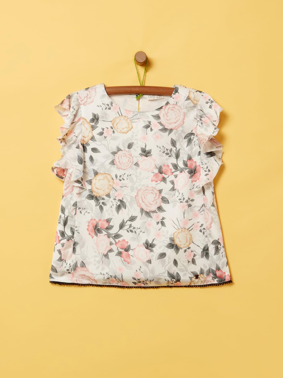 Блуза белая в принт | 5372402