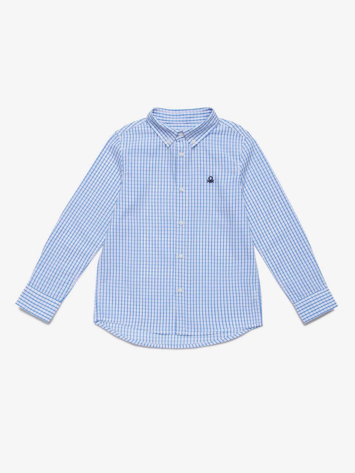 Рубашка голубая в клетку | 5371375