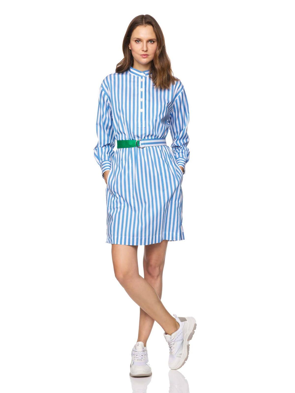 Платье голубое в полоску   5371743