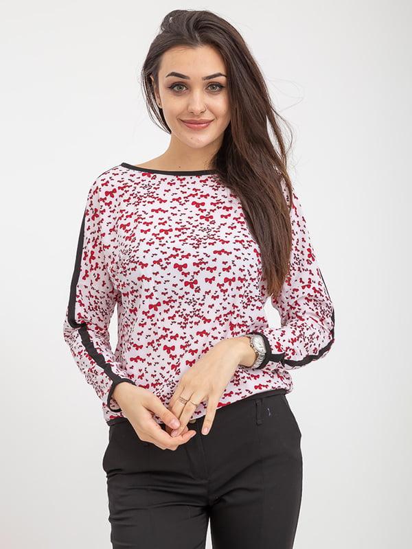 Блуза бело-красная в принт   5374636