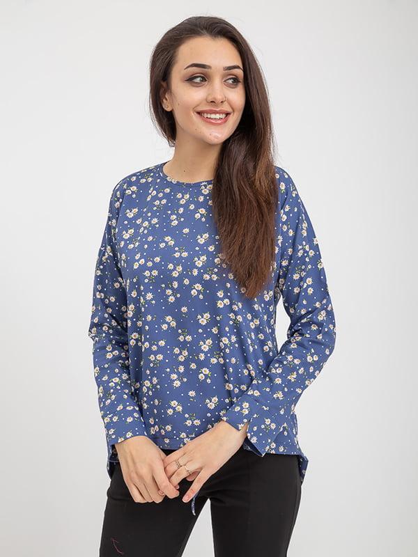 Блуза сине-белая в принт   5374666